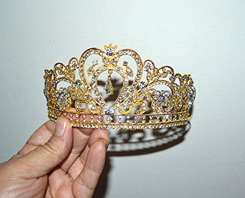 2020 Gold Rhinestone Tiara Crown 6' Diameter Royal Queen Princess Bride Bridal Wedding Crown Clear Austrian Crystal Party Headband Wedding Cake Topper