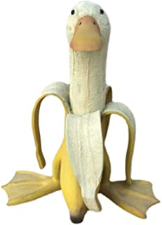 Banana Duck Statue Widely Used Outdoor Cute Yard Art Banana Duck Vivid Portable For Lawn yellow