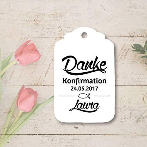 25 Geschenkanhänger Tags Etiketten Danke Kommunion Konfirmation Taufe Geburt
