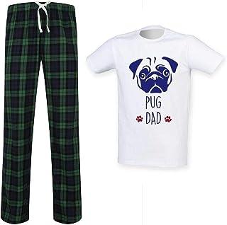 Mens Pug Dad Tartan Pyjama Set Fathers Day Pet Clothes Present
