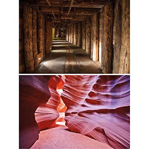 GREAT ART Set de 2 carteles | Din A2 - 42 x 59,4 cm | mina y cañón Antílope Wieliczka tonos marrones Polonia y Arizona naturaleza Bajo tierra | Photo Imagen de Pared Póster Papel