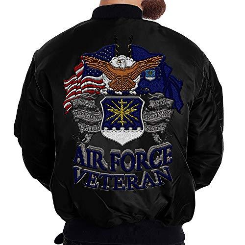 Familyloves U.S AIR Force Veteran Embroidered Jacket (Large, Black)