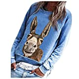 Xinantime Womens Printed Sweatshirt Rainbow/Cute Donkey/3D Animal Printing Long Sleeve Pullover O Neck Top Blouse Tops (c-Blue,Medium)