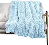 Faux Fur Throw Blanket, Super Soft Lightweight Shaggy Fuzzy Blanket Warm Cozy Plush Fluffy Decorative Blanket for Couch,Bed, Chair (Light Blue, 51'x63')
