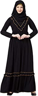 Latest Black Abaya Dress Matte fabric With Long Sleeves & a Side Pocket for Women