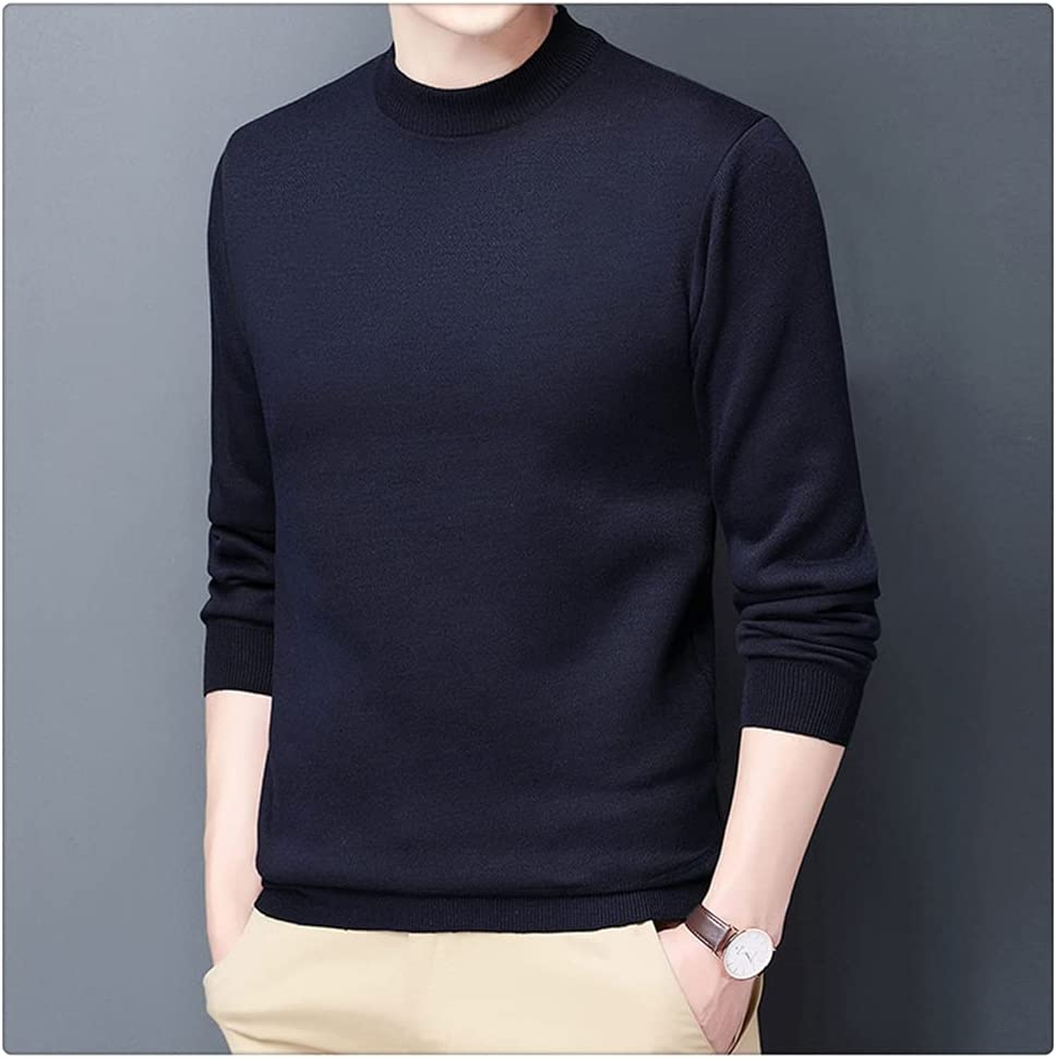 ZTTZX Thick Autum Knit Pullover O Neck Knitted Sweater Men Winter Casual Jumper Mens Clothes (Color : Navy Blue, Size : M code)