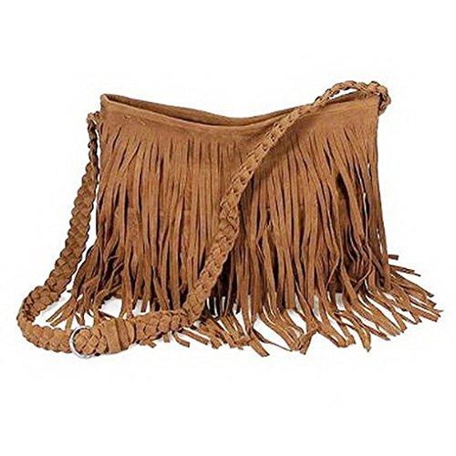MOONLOVE Fashion Fransentasche Damentasche Beutel Taschen Schultertasche Umhängetasche mit Reissverschluss