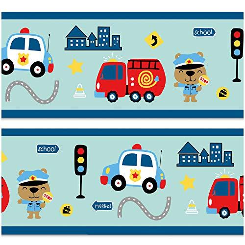 Bordüre 15cm x 200cm für Kinderzimmer Babyzimmer Dekor Aufkleber Wandbordüre selbstklebend Wandtattoo für Kinder Mädchen Junge Y033-16 (Feuerwehr/Polizei)
