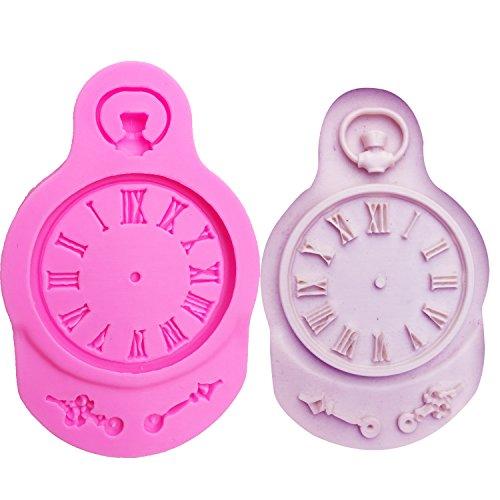 Neutral Molde De Silicona En Forma De Reloj para Decoraciones De Pasteles Herramientas Reloj Fondant Polymer Clay Resin Candy Super Sculpey