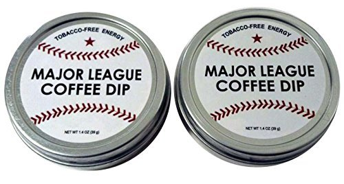 Major League Coffee Dip (Pack of 2) Quit Chewing Tin Can Non Tobacco Nicotine Free Smokeless Alternative to Chew Snuff Snus Leaf