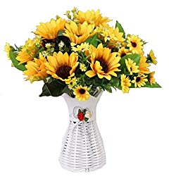 Calcifer Sunflowers With Vase Artificial Flowers Bouquet