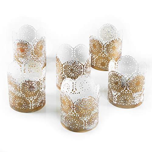 Logbuch-Verlag 6 portavelas de metal dorado y blanco shabby chic – Portavelas como idea de regalo, decoración de mesa para boda
