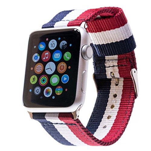 LOJI Premium Ersatzarmband kompatibel mit Allen Apple Watch Modellen inkl. Edelstahl-Adapter (44/42mm Blau-Weiß-Rot mit silbernem Adapter)