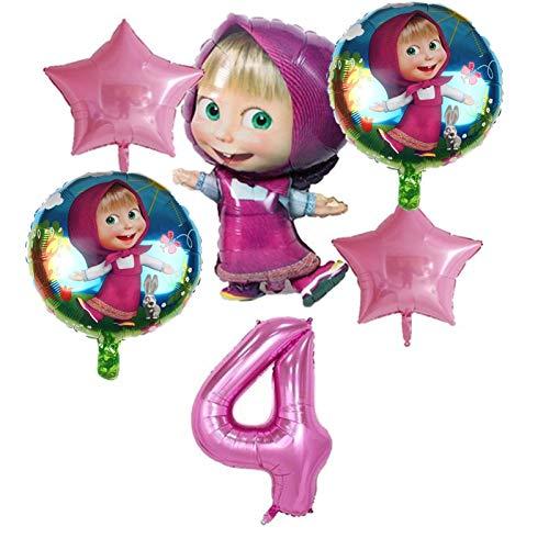 JSJJAET Globos de cumpleaños 6pcs Masha y la decoración de Aluminio Hoja hincha Conjunto Fiesta de cumpleaños de los bebés del Oso Globos de 32 Pulgadas (Color : Pink 4)