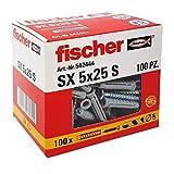 Fischer 542444tacos con tornillo Izquierda, Gris, 5x 25mm, juego de 100piezas