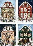 Coppenrath Calendario de Adviento tradicional alemán de cuatro casas victorianas con sobres, 4 unidades