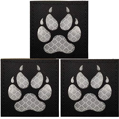Infrared IR K9 Dog Handler Paw Tactical Reflective Patches Morale Badges with Hook and Loop Fastener Backing for Military Service Dogs Training Harness K9 Handlers Collar Backpack