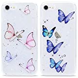 LAPOPNUT 2 Pack Cases for iPhone SE 2020 Case iPhone 8 Case iPhone 7 Butterfly Pattern Case Printed Transparent Glitter Soft Back TPU Bumper Phone Cute Case Clear Design Protective Cover for SE2020