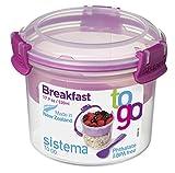 Sistema To Go - Recipiente Compacto para Desayuno, plástico, Rosa, 11.4 x 11.4 x 9.6 cm