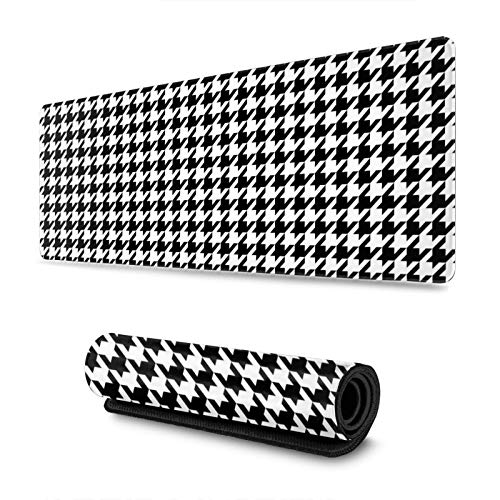 Black and White Houndstooth Gaming Mouse Pad, Long Extended XL Mousepad Desk Pad, Large Non-Slip Rubber Mice Pads Stitched Edges, 31.5'' X 11.8''