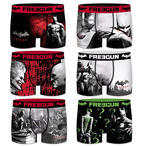 FREEGUN Boxershort Pack of 6 Herren DC Comics Batman Arkham City (S, Pack of 6)