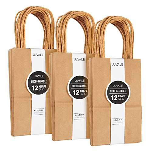 Juvale Small Kraft Paper Gift Bags with Handles (Brown, 8.5 x 5.25 Inches, 36 Count)