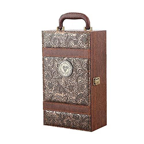 Caja de regalo de vino 2PCS embalaje caja de embalaje de vino tinto caja de vino empaquetado para regalos bolsas de embalaje para barra de negocios caja de cuero para cumpleaños y ocasión especial