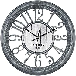 Bernhard Products Large Wall Clock 16 Inch Gray Noiseless Battery Operated Quality Quartz Rustic Farmhouse Shabby Chic Vintage Design for Kitchen/Living Room/Bedroom/Decorative Stylish Clocks