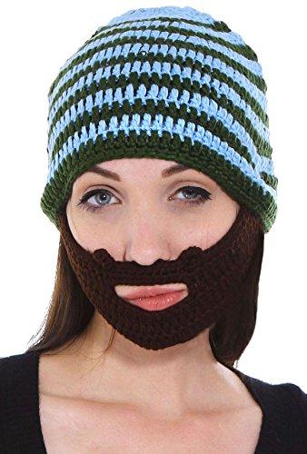 Simplicity Women/Men's Mustache Mask Face Ski Hat Cap Beanie with Beard Blue