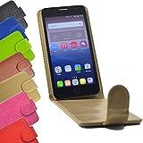 Flip 2 in 1 set Tasche für Phicomm Clue L / C630 Slide Kleber Hülle Case Cover Schutz Bumper Etui Handyhülle in Gold