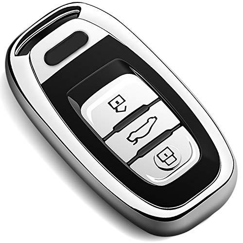 COVELL für Audi Autoschlüssel Hülle, Prämie Weiches TPU Schutzhülle Schlüsselhülle für Audi A4 A5 A6 A7 A8 Q5 Q8 R8 S4 S5 S6 S7 RS4 RS5 RS6 RS7 Autoschlüssel, Silber