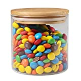 77L Food Storage Jar with Wooden Lid, [Thickened Version] Glass Airtight Seal Food Storage Jar, 17.91 FL OZ (530ML) Clear Food Canister Serving for Coffee, Tea, Sugar and More