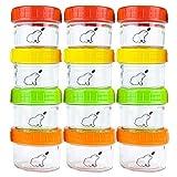 Budding Bear Contenedor Recipiente Comida de Bebé de Vidrio 130 ml (Set de 12) Apto para Lavavajillas, Congelador y Apto para Microondas (Sin Tapa) Libre de BPA, Ftalatos, Plomo y PVC - Reutilizables