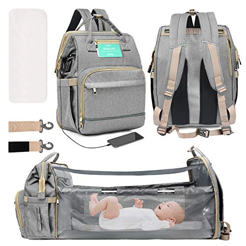 VONLUXE 3 in 1 Diaper Changing Bag Backpack,Large Capacity Waterproof Travel Nappy Bag,Multifunctional Foldable Baby Crib Changing Table-Grey