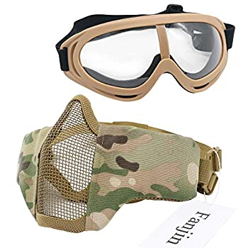 Fanjin Airsoft Mask and Goggles Foldable Half Face Mesh Masks Lower Face Masks for Airsoft Tactical CS Hunting Paintball Shooting Or Other Outdoor Activities Set for Adult Men Women