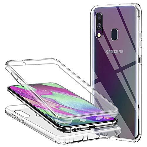 Funda para Samsung Galaxy A40, 360 Grados Protección Transparente Ultra Slim Doble Carcasa TPU Silicona y Dura PC Protectora Suave Case Resistente Anti-Arañazos Anti-Choques, Transparente
