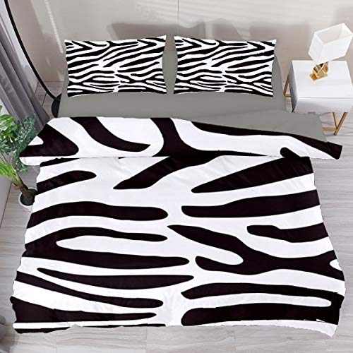 Juego de funda de edredón de 3 piezas, diseño de cebra en color blanco y negro para cama Super King de 259 x 220 cm, transpirable, para adultos, mujeres, hombres, adolescentes (sin edredón)