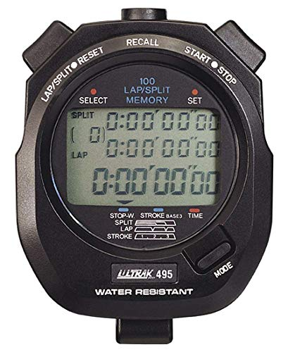 ULTRAK 495 100 Lap Memory Black Professional Stopwatches Continuous Display of Event Time New
