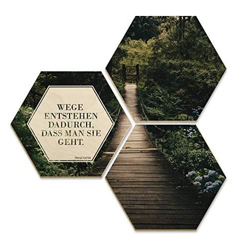 Hexagon Holz Birke-Furnier Wege entstehen dadurch, dass man geht Spruch Typografie Brücke Park 3er Set Wall-Art