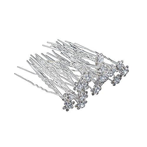 Outflower. 20Pcs Femmes Bridal Clear Crystal Rhinestone Rose Flower Clips de Cheveux Accessoires pour Cheveux Jewelry Hairpins (Blanc)