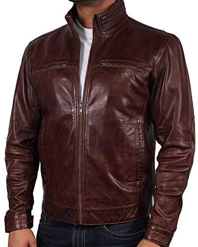 Brandslock - Giacca da motociclista da uomo, in vera pelle, stile retrò, stile classico Marrone XXXXXL
