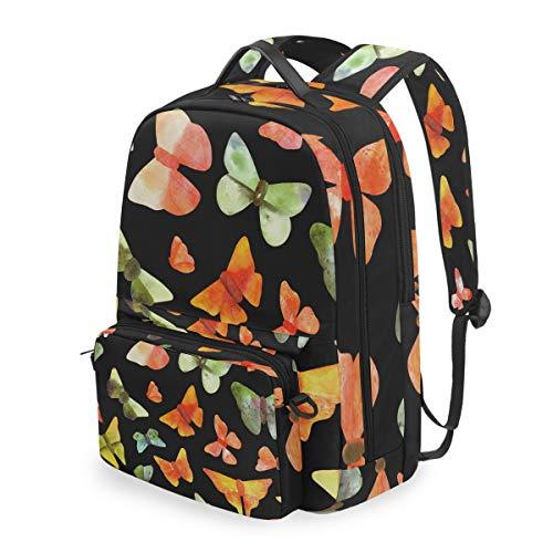 Patrón sin costuras con mariposas de acuarela en negro mochilas escolares desmontables...