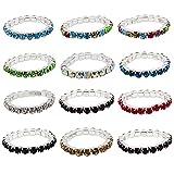 keland Toe rings 12 unids elástico cristalino toe ring color mezclado al por mayor cuerpo pie anillo joyería bolsa (colorful)