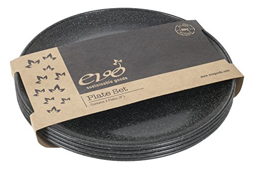 EVO Sustainable Goods 8' Plate, Set of Four, Black