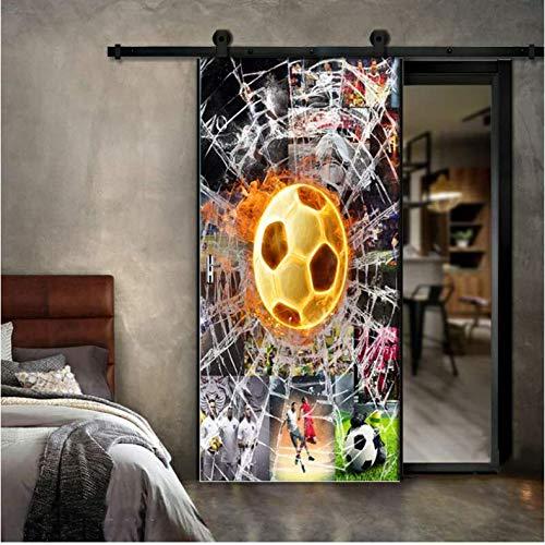 KHJIBX Etiqueta Engomada Creativa De La Puerta del Fútbol De La Taza De Mundo 3D para La Sala De Estar Dormitorio DIY PVC Autoadhesivo Papel Pintado Impermeable 3D Mural Decals 77X200Cm