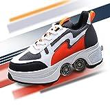 TAOXUE Parkour - Patines de doble fila invisibles para patinaje de rodillos de deformación 2 en 1 para exteriores con polea extraíble para caminar automático para niñas y niños