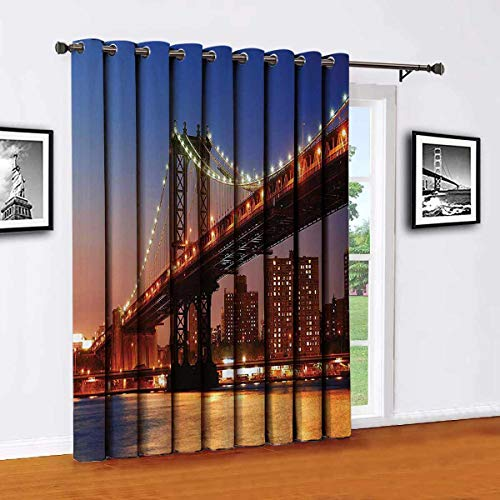 New York Sliding door shades,patio curtains,Manhattan Bridge with Night Lights over Hudson River Brooklyn Popular Town Image Insulated wide curtains/bedroom curtains(Single panel) W52 x L63 InchBlue