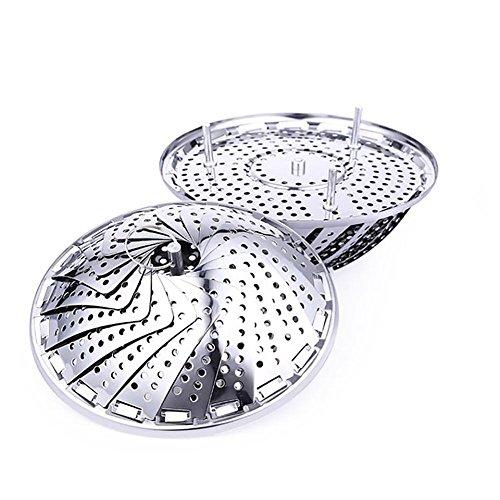 Edelstahl Dämpfeinsatz für Koch-Töpfe von 17.8cm - 28cm stufenlos verstellbarer Dampfgarer zum Gemüse dämpfen BPA-frei rostfrei geeignet für Baby-Nahrung