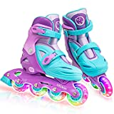 Locavun 5 Size Adjustable Light up Inline Skates for Kids, Hard Shell Roller Blades for Girls and Boys - 201 Puprle-Small(9C-12C)