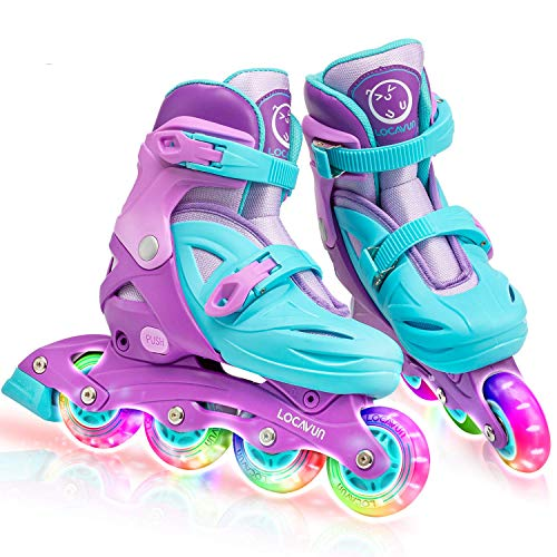 Locavun 5 Size Adjustable Light up Inline Skates for Kids, Hard Shell Roller Blades for Girls and Boys-(13C-3Y) Medium-201 Green